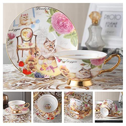 HAHAJY Europa Bone China Kaffeetasse Untertasse Löffel Set 200 ml Keramikbecher Porzellan Teetasse Cafe Drinkware, Royal Pet