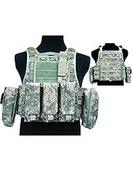Tactical 027Molle combate chaleco, con bolsillo para cargador) para Airsoft y Paintball militar ACU