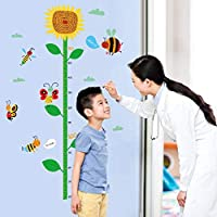 TCCSR Wall Stickers Sunflower Grow Height Measuring Ruler Nursery Children Bedroom Removable Tile Decal Decor Mural