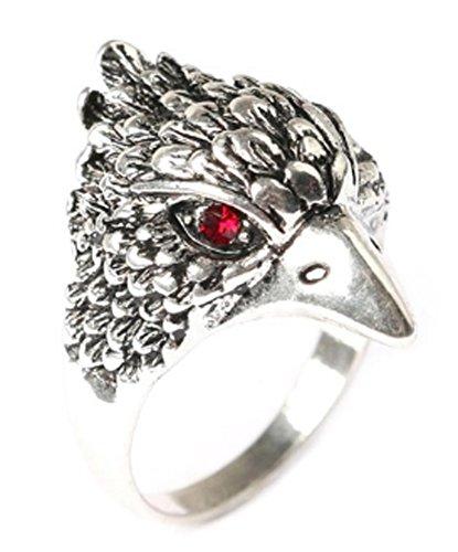 SaySure - Punk Finger Ring Antique Silver Color Eagle (SIZE : 10)