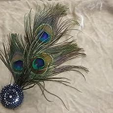 Peineta o aguja con detalles en pedrería y plumas