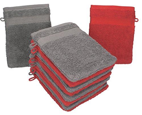 Betz lot de 10 gants de toilette taille 16x21 cm 100% coton Premium couleur gris anthracite, rouge