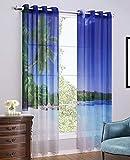 Yushi Balkon Screens Fenster Behandlungen Eyelet Blackout Vorhänge 2er Set, für Schlafzimmer/Zimmer, 132 * 160cm