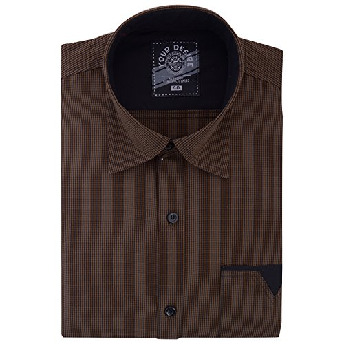 Your Desire Shirts Men Cotton Brown and Black Formal Shirt (Size 40)