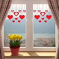 Valentines Day RED Hanging Hearts Window Or Wall Sticker. SINGLE