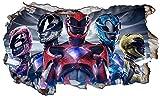Power Rangers Ninja Stahl V401Wall Crack Smash Wandtattoo Selbstklebende Poster Wall Art Größe 1000mm Breit x 600mm Tief (groß)