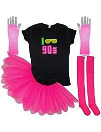 I Love 90s Neon Tutu Set Socks 90's Ladies Fancy Dress T-Shirt Gloves (XL, Pink)