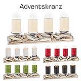 Adventskranz LÄNGLICH / Holz / Länge ca. 50 cm / Kerzenfarbe wählbar / Weihnachten / Advent (Rot)