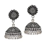 Jaipur Mart Handmade Designer Traditional Silver Oxidised Jhumki Jhumka Earrings Holi Special Jewellery Gift For Her, Girl, Women, Mother, Sister, Girlfriend, Party, Daily Wear