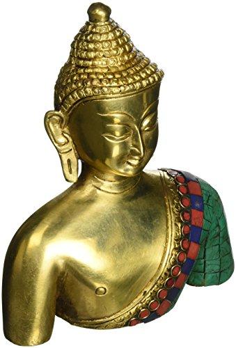 """Busto de Buda estatua bronce Metal budista colorida decoración 7,5 """"X 5,75"""" X 2.25 """""""