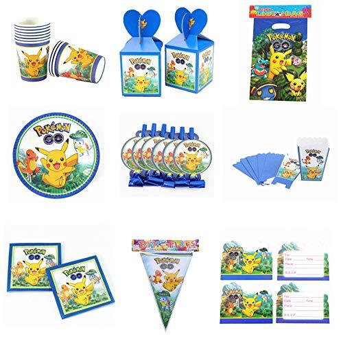 QAnter 76 pièces/lot Pokemon Thème Dessin Animé Fête Ensemble Vaisselle Assiette Serviettes Bannière Anniversaire Boîte De Bonbons Enfant Douche Décoration De Fête
