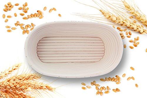 Handgefertigtes Gärkörbchen für Brot bis zu 750g, oval-länglich, aus 100% natürlichem Peddigrohr (Rattan), Brot-Gärkorb, Brotform