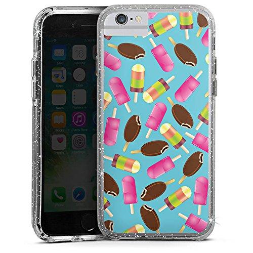 Apple iPhone 6 Bumper Hülle Bumper Case Glitzer Hülle Eis Ice Muster Bumper Case Glitzer silber