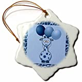 3dRose orn_21788_1 Blue Giraffe with Giraffe Print and Blue Balloons Porcelain Snowflake Ornament, 3-Inch