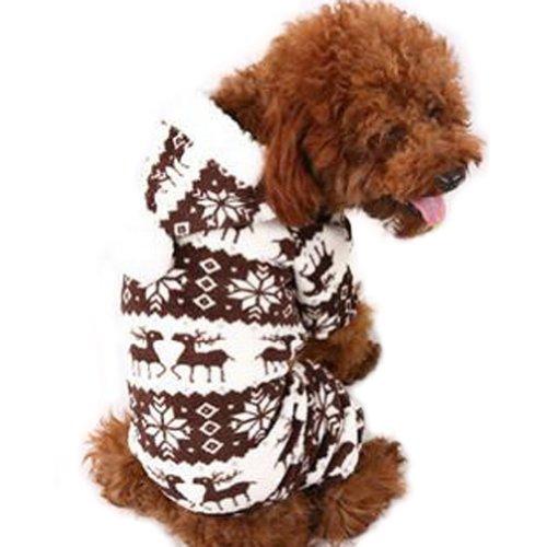 Urparcel Pet Dog Cute Warm Snow Hoodie Jumpsuit Clothes Coffee XL