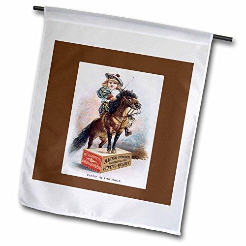 3dRose FL 170512_ 2,5cm BT Rabbitts Backpulver Mädchen auf Einem Pony Stehend auf Einer Box Garten Flagge, 30,5x 45,7cm -