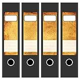 4 x Akten-Ordner Etiketten / Altes Papier Antik Look / Design Aufkleber / Rücken Sticker / für breite Ordner / selbstklebend / 6cm breit