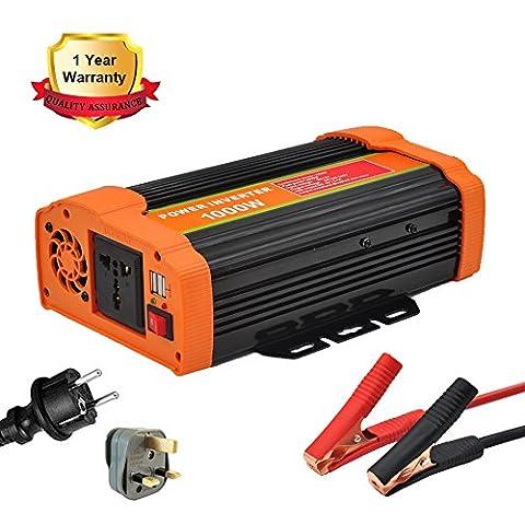 FENYI Onde sinusoïdale modifiée 1000 W Alimentation Convertisseur 1000 W Power Inverter Peak DC 12 V à 220 V AC Power Inverter(1000W Orange)