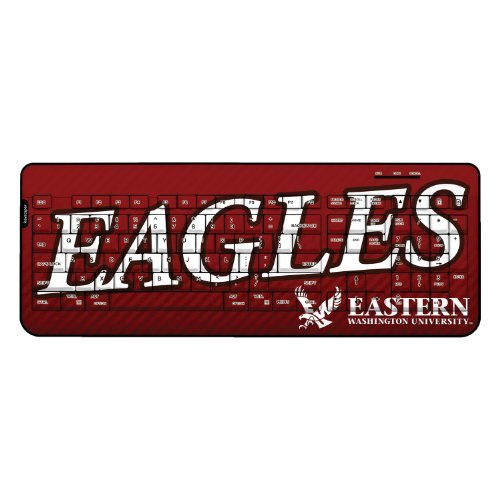 Eastern Washington Eagles Wireless USB Keyboard officially licensed by Eastern Washington University Full Size Low Profile Direct Print Plug & Play by keyscaper