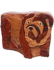 Beltiscool adulto secreto con forma de Bulldog de madera hechos a mano joyería caja de Puzzle–Bulldog un tamaño Natural