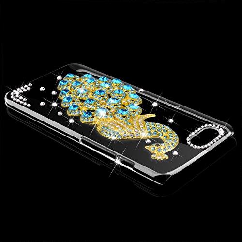 WE LOVE CASE iPhone 6 / 6s Hülle iPhone 6 6s Schutzhülle Handyhülle Im Blau Pfau Peacock Transparent Durchsichtig Muster Handytasche Handycover PC Harte und Weiches Silikon Case Anti-Scratch Handy Tas Blau