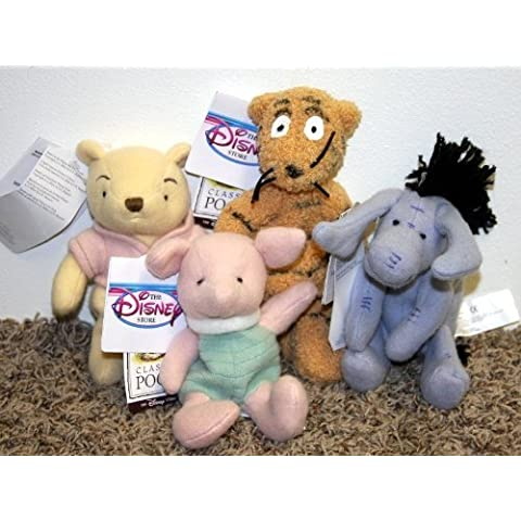 Retired Disney Classic Style Winnie the Pooh Set of 4 Plush Bean Bag Dolls Including Classic Piglet, Eeyore, Tigger and Pooh Mint with Tags by