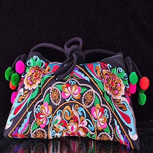 Geldbörse Brieftasche Geldbörsen für Frauen Nationalen Stil Stickerei Kleine Tasche Lady Granatapfel Blume Stickerei Diagonal Tasche Umhängetasche -