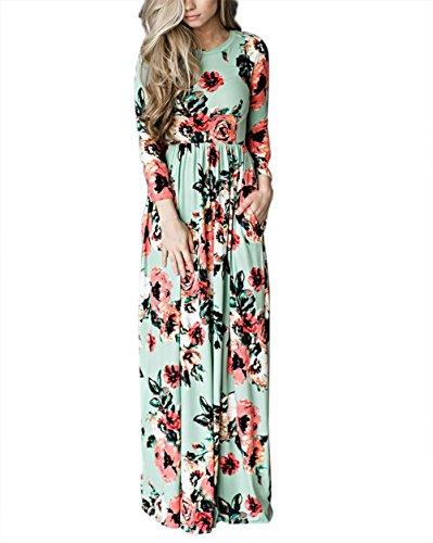 Yidarton Damen Sommerkleid Langarm Floral Print Böhmischen Strand Maxi Kleid Grün