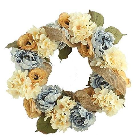 Décoration de Noël ornements décoration art fleurs artificielles Simulation Flora pour fête de mariage et cadeau Thanksgiving Simulation de mariage Motif couronne de porte couronne décorée Craft Pivoine