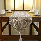 ShinyBeauty – Chemin de table scintillant en sequins verts pour banquet, fête, mariage ou décoration (30x180cm), cuivré, 30x180cm