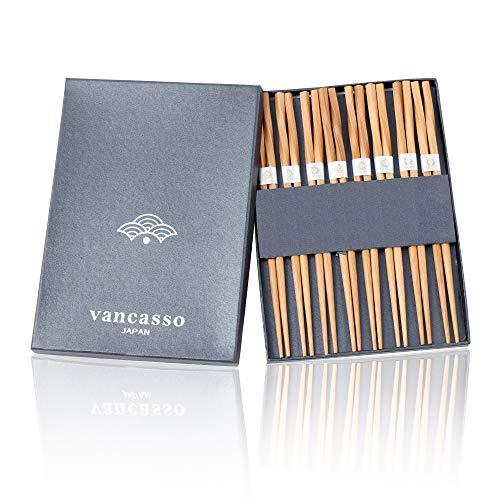 Vancasso Essstäbchen, 8 Paar Wiederverwendbare Chopsticks aus Bambus Stäbchen für Asiatisches Geschirr
