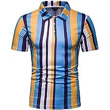 ESAILQ Hombres Casual Manga Corta Camiseta Soltero Botón Abertura Llano v Cuello Camisas Mezcla de Algodón