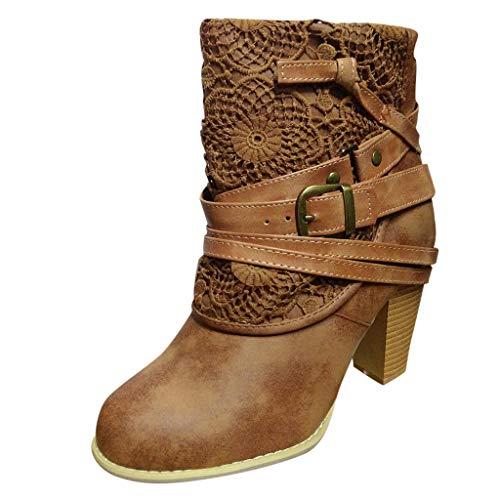 Leather Square Toe Mokassins (Precioul Damen Leather Boot Stiefeletten Damen Cowboy Stiefel Kurzstiefel individuell und ausgefallen Stiefeletten Worker Boots mit Blockabsatz Prints Profilsohle)
