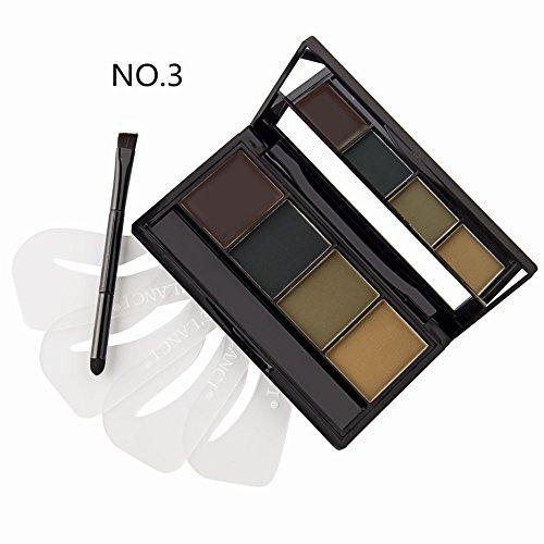 DE'LANCI 4 Color Pro-Augenbraue -Puder-Palette mit 4Pcs Augenbrauen Schablonen Set (Farbe 3)