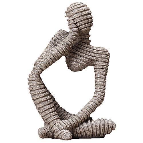Sandstein-Harz-Skulptur, Denker-Statue, Abstrakte Figur, Handgeschnitzte Handwerk, FüR Home Office, BüCherregal, Desktop, Handwerk Geschenke,DDCYY-05 -