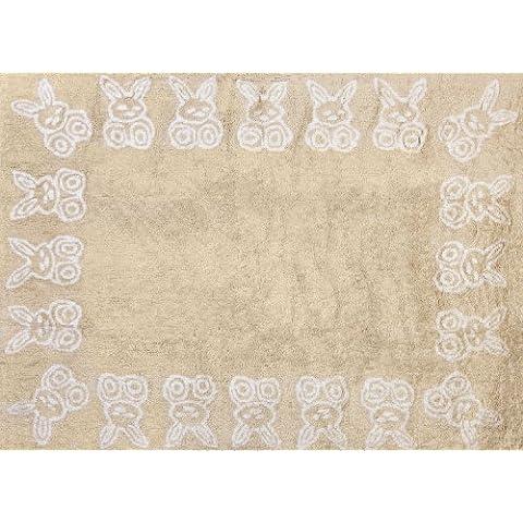Aratextil. Alfombra Infantil 100% Algodón lavable en lavadora Colección Conejitos Beige 120x160 cms