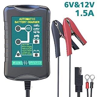 LEICESTERCN Autobatterie Ladegerät, 1.5A Vollautomatisches Batterieladegerät 6V/12V mit LED-Anzeige und 2 Ausgangskabel (Clip-Anschluss/Ringstecker) für Auto Motorrad Kfz (EU Stecker)