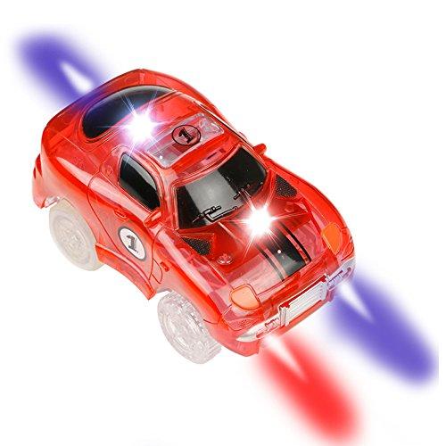 Car Track mit 2 LED Race Cars Spielzeug, 240 Stück Flexible Variable Track Set, Kinder Autobahn, Glow in The Dark für Kinder 3 4 5 6 7 8 , MEHRWEG (einzelnes Auto)