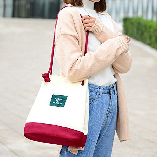 Young & Ming - Cinturino sottile Tela Bucket Bag Totes Donna Female Fresh Borse a spalla Handbag Canvas Shoulder Bag Borse a tracolla rosso