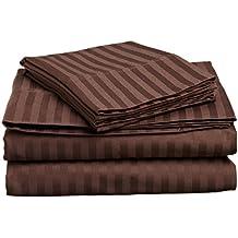 British elección de lino algodón egipcio 4piezas Juego de sábanas sábana satén., algodón, Chocolate Stripe, matrimonio grande