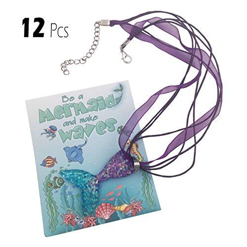 justBe 12 Stück Meerjungfrau Halskette Party Geschenke für Mädchen | Individuelle Packung | Glitzernde Anhänger | Handarbeit