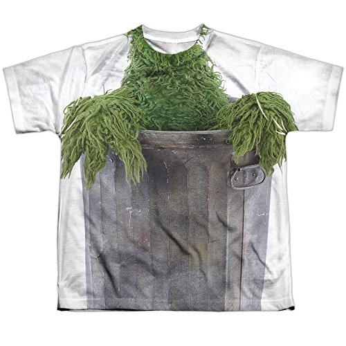 Sesamstrasse Klassische TV-Serie Oscar Kostüm Jungen Jugend Front Print T-Shirt Tee Gr. XL, weiß