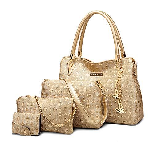 Vezela Handbags for Women - Pack of 4 Handbag and Wallet for Women - PU Leather Handbag for Ladies - Shoulder Bag, Crossbody Bag, Backpack, Handbag & PouchCard Holder Combo Set Of 4 (Golden 2)