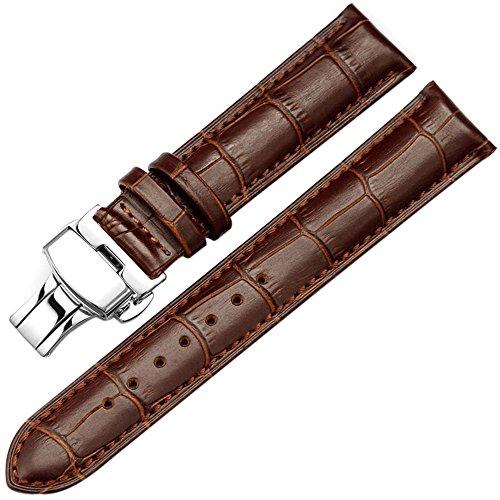 AUTULET Herren Leder Uhrarmband 20mm Braun Uhrenarmband (Swatch-uhr-gurt)