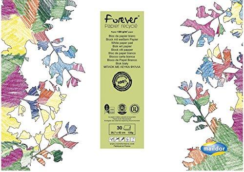 Clairefontaine Maildor 26516C - Bloc de dibujo (papel reciclado, DIN A3, 130 g, 30 hojas), color blanco