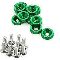 10 arandelas de aluminio anodizado para el estilo del coche (verde)