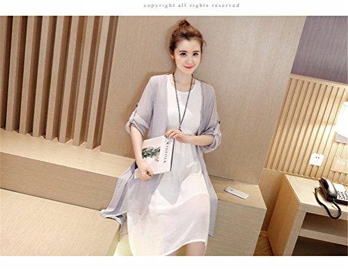 Womens Summer Chinese Wind Irréguliers en coton Robe de lin Robe de plage + Cardigan Gris