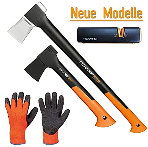 FISKARS© Set Spaltaxt X25 - XL + Universalaxt X7 - XS + Xsharp Axt- und Messerschärfer + Handschuhe