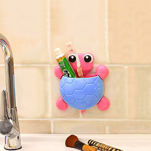TiedRibbons-Turtle-Shaped-Wall-Mounted-Powerful-Suction-Toothbrush-and-Toothpaste-Holder-in-Bathroom-for-Kids-Pink