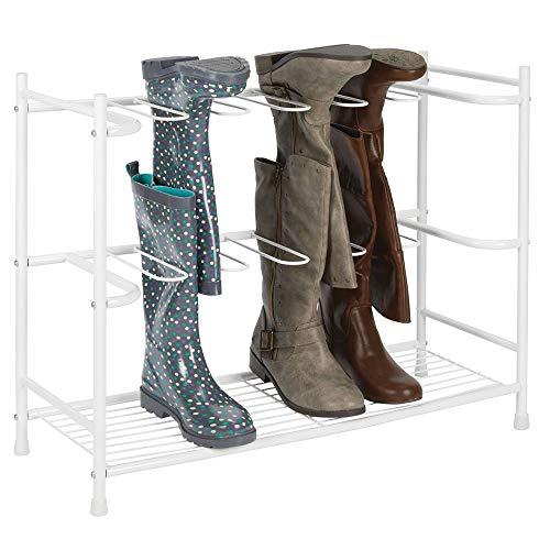 mDesign Stiefelaufbewahrung - Regal zum Stiefel und Schuhe aufhängen - platzsparendes Schuhregal für sechs Paar Regen-, Reit- oder Damenstiefel - weiß